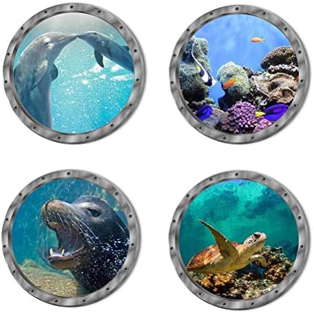 Removable Scenery Animals Bathroom Dolphins
