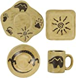 MARA STONEWARE COLLECTION - 4 Piece (1 Person) Odd Shaped Dinnerware Place Setting - Southwest, Gecko, Bear, Sun