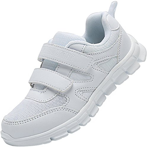 Jinouyy Boys Girls Fashion Sports Sneaker Breathable Mesh Athletic Running Shoes White Size 11.5 M US Little Kid