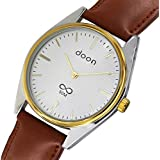 Doon Louise Men's Watch with Silver Dial, Brown Strap in Genuine Leather, Quartz Movement - D2011-002