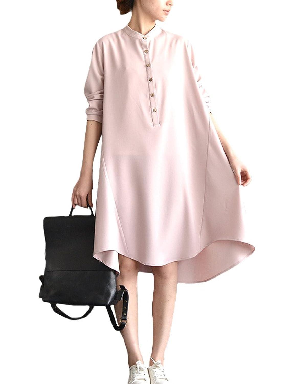 MatchLife Damen Vintage Stehkragen Blusenkleider Hoch Niedrig Kleider