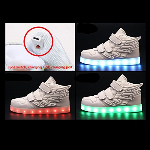 Niños Niñas Zapatillas LED Alas Velcro 7 Colores Luminosos Cargado por USB-Gaorui Rosa - rosa (b)