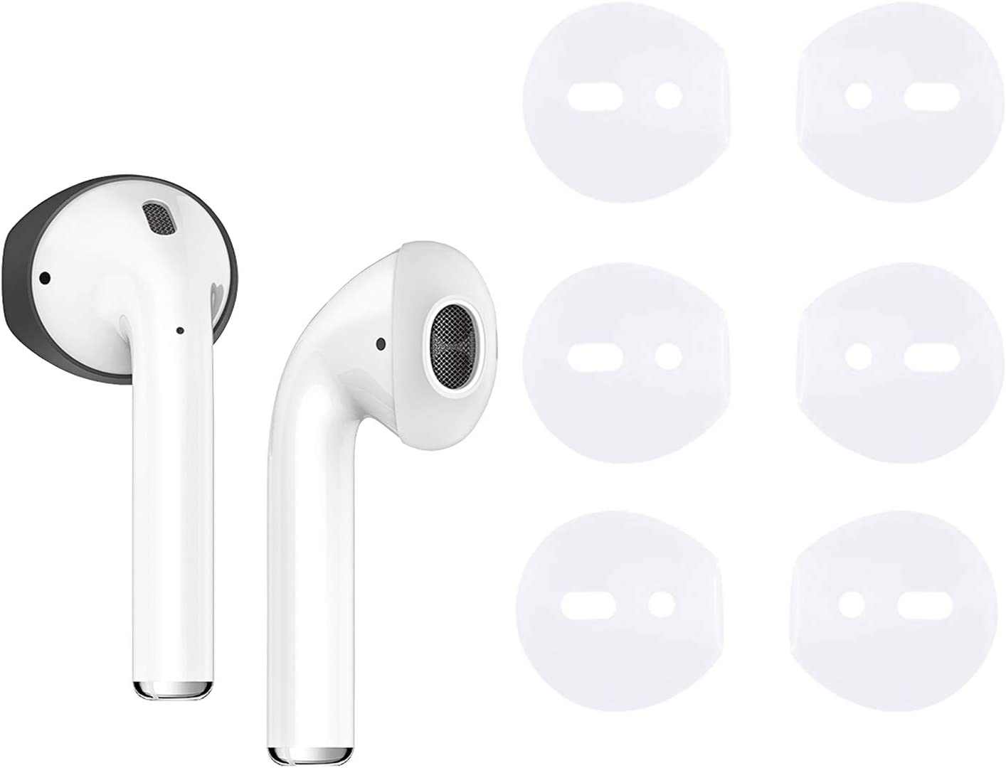 {Fit in Case}Silicone Protecitve Tips Ear Skins and Covers Replacement Anti Slip Soft eartips Compatible with Apple AirPods 1 & 2 or EarPods Headphones/Earphones/Earbuds (3 Pairs Clear)