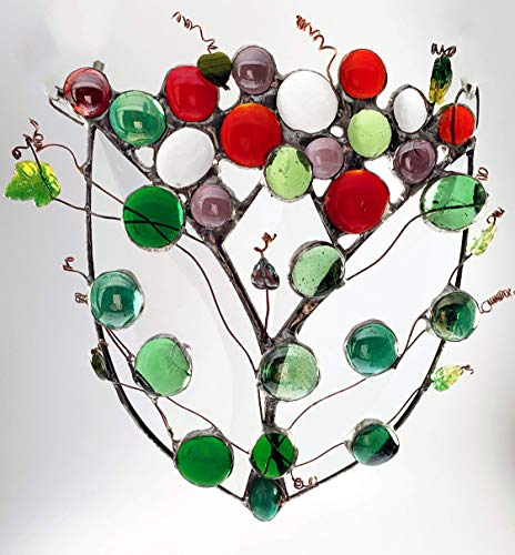Tulip Shaped Spring Bouquet in Red, Purple and Green. Three Bevels along with Wirework, Glass Jewels, some Vintage and Faceted ()