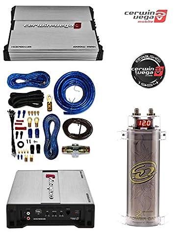 SQCAP2M Power Capacitor W/ 4 Gauge AMP KIT+ CERWIN-VEGA MOBILE XED71000.1M XED 7 Series Class AB Amp (Monoblock, 1,000 (Crossover 8 Ohm Speaker 2 Ohm)