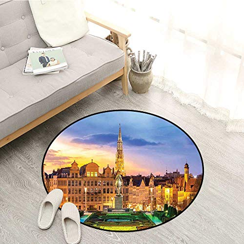European Living Room Round Rugs Brussels Citscape with Monument Belgium Avenue Medieval in Gothic Style Print Sofa Coffee Table Mat 4'11
