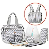 Diaper Bag Backpack with Changing Pad, Baby Bottle Insulator, Drawstring Bag, Wallet, and Detachable Straps – Can be Worn as Nappy Tote or Crossbody Messenger Bag - Unisex Design