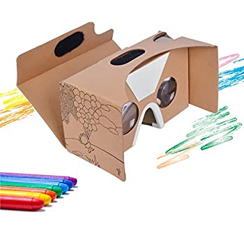 Google Cardboard Virtual Reality Headset By CardboardKid - Kids Friendly, Fun 3D Viewer, Exciting and Educational, Recommended Apps, Compatible with All iPhone and Android Smartphones (Max 6 Inches)