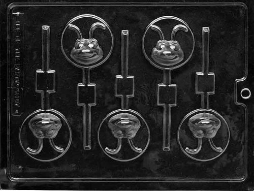 Cybrtrayd Life of the Party K107 Smiling Ant Head Lolly Kids Chocolate Candy Mold in Sealed Protective Poly Bag Imprinted with Copyrighted Cybrtrayd Molding Instructions