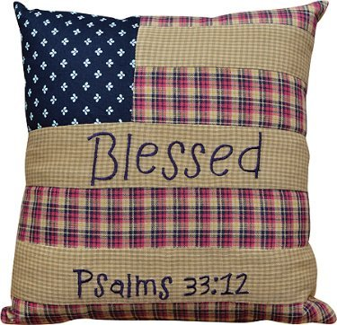 "10""X 10"" Blessed Pillow Psalms 33:12"