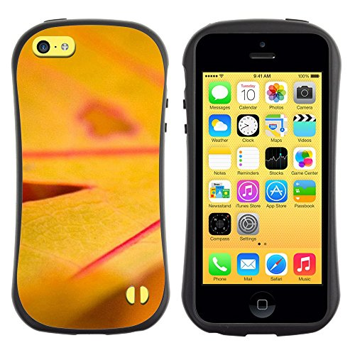 All-Round Hybrid Rubber Case Hard Cover Protective Accessory Gerneration-I Compatible with Apple iPhone 5C - Plant Nature Forrest Flower 17