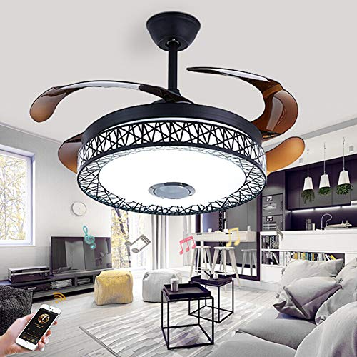 Fandian 42in Modern Smart Ceiling Fan with Lights Bluetooth Speaker Chandelier Lighting Fixtures, Remote Control, Retractable Blades, 3 Light Colors, for Living room, Bedroom 42in-Black nest