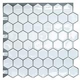 "Crystiles Peel and Stick Self-Adhesive Vinyl Wall Tiles, Big Hexagon White, Item# 91010839, 10"" X 10"", Set of 4"