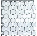Kitchen Backsplash Diy Crystiles Peel and Stick Self-Adhesive Backsplash Tile for Bathroom and Kitchen DIY Renovation Project, Big Hexagon White, Item# 91010839, 10 X 10, 1 Sheet Sample
