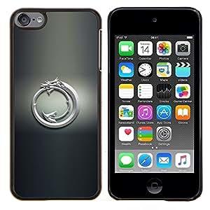 EJOOY---Cubierta de la caja de protección para la piel dura ** Apple iPod Touch 6 6th Touch6 ** --White Dragon Tribal