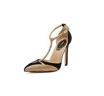 6a9fd734 HYLFFO Mujeres T-Correa Sandalias, Cuero Liso Stiletto tacón Tango Latino  Zapatos de Baile Sandalias de Noche Chicas Pescado Boca Sandalias:  Amazon.es: ...