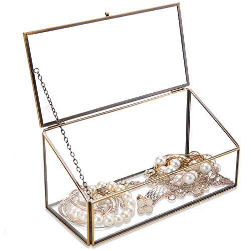 Glass Display Box (Decorative Clear Glass & Brass Tone Metal Slanted Top Lid Shadow Box Jewelry Chest / Storage Display Case)