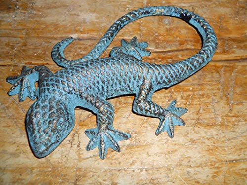 Lot of 2 Green Lizard Garden Statue Gecko Western Ranch Vintage Cast Iron Supplies for Home Decor by CharmingSS