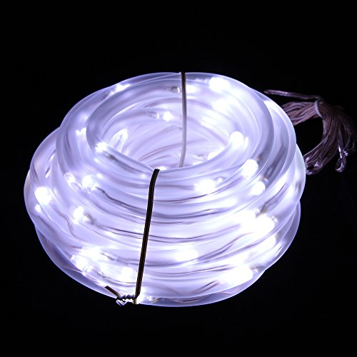Solar Rope Lights, 33ft, Waterproof, 100leds, 1.2 V, Portable, with Light Sensor, Outdoor Rope Lights, Ideal for Christmas, Wedding, Party (Day White) (Solar Tube Led)