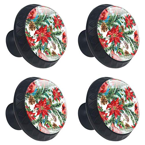 Anmarco Christmas Floral Poinsettia Drawer Knobs Pull Handles 30MM 4 Pcs Glass Cabinet Drawer Pulls for Home Kitchen Cupboard ()