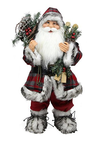 Northlight Alpine Chic Standing Santa Claus with Frosted Pine Snowshoes and Skis Christmas Figure, 16