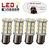 LEDKINGDOMUS 4 X BA15D 5050 27-SMD LED Super White Car Marine Boat RV Camper Light 1142 1076