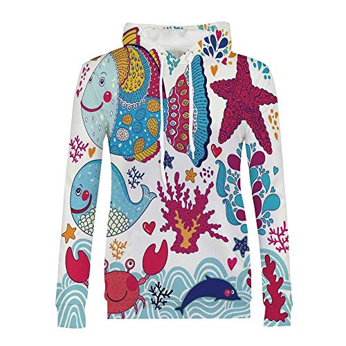 - Whale Modern and Simple Hoodies,Funny Fishes Starfish Coral Crab Underwater Life Waves Marine Clipart Illustration for Women,S
