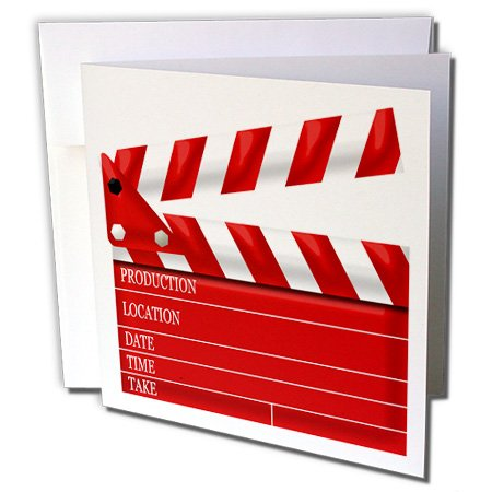3dRose Anne Marie Baugh - Theater - Movie Clap Board Illustration in Red and White - 12 Greeting Cards with envelopes (gc_222696_2)