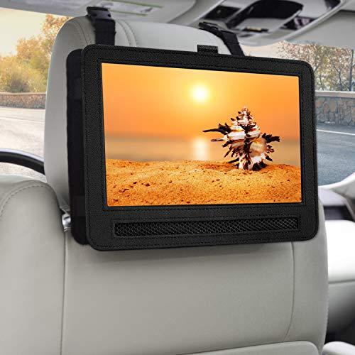 KUBEST Car Headrest Mount Holder Strap Case for Swivel & Flip Style Portable DVD Player (10.5 inch) Black