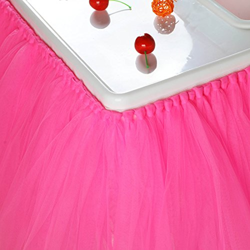 vLoveLife 40'' x 14'' Dark Pink Tulle Tutu Skirt For High Chair Decor For 1st Birthday Party Baby Shower Decorations Favor ()