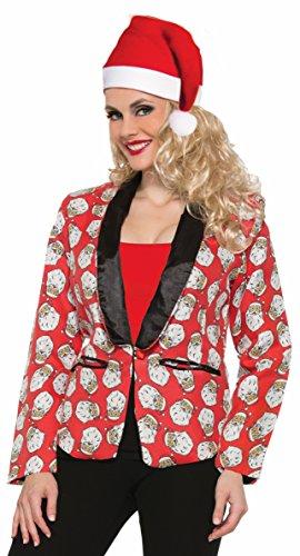 Forum Novelties Women's Santa Claus Blazer Suit Jacket Costume Green Red Christmas, Small