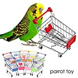 CDELEC Parrot Toys Mini Colorful Funny New Supermarket Shopping Cart Trolley Pet Bird Parrot Hamster Toy