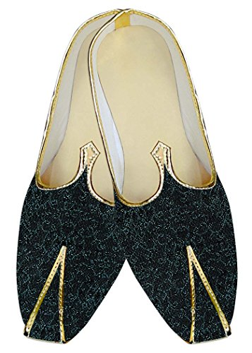 INMONARCH Mens Black Wedding Shoes Cyan Design MJ011557 u6m8Jz0I