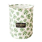 Wakerda Canvas Storage Basket - Large Storage Bin with Handles - Natural Leaf Pattern Storage Containers