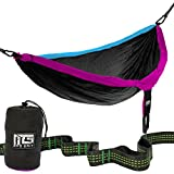 Mad Grit Ultra Portable Double Hammock Mad Grit's Ultra Portable Double Camping Hammock is made of super strong lightweight 210T Parachute Nylon that is suited backpacking trips, a fun day at the park or napping between two palm trees. It easily supp...