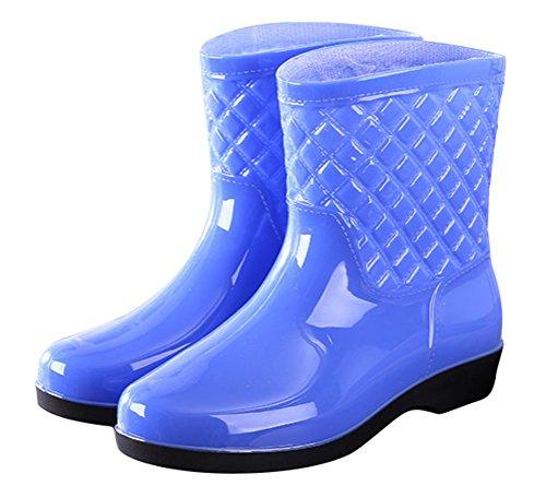 Footwear Purple Brushed ACE SHOCK Boots Mid Calf Waterproof Antiskid Rain on Casual Rain Women Pull RzqUOW6TR