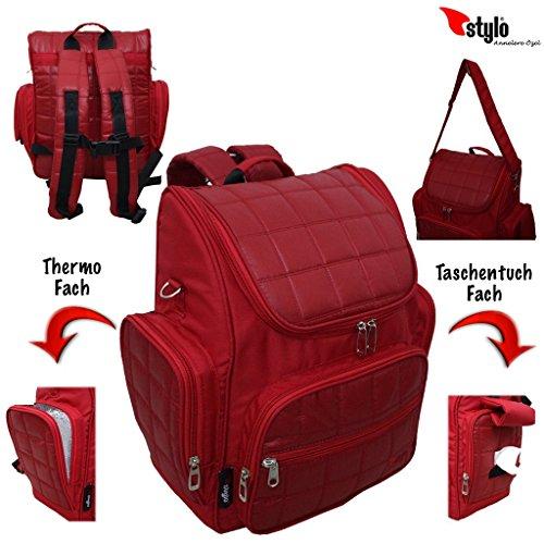 Baby Mochila Cuidado Mochila Bolsa para pañales Mochila unisex bolsa de Multifunción, bolsillo térmico Tuerca bolso bolsa para cochecito de bebé Bolsa rosa Rosa rojo