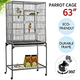 Yaheetech 63'' Wrought Iron Rolling Large Bird Cage for Mid-Sized Amazon Parrots Quaker Cockatiels Sun Parakeet Green Cheek Conure Lovebird Budgie Finch Canary Bird Flight Cage with Detachable Stand