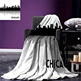 smallbeefly Chicago Skyline Digital Printing Blanket Downtown Skyscrapers Illinois Tourism Travel Country Urban Minimalist Summer Quilt Comforter Black and White