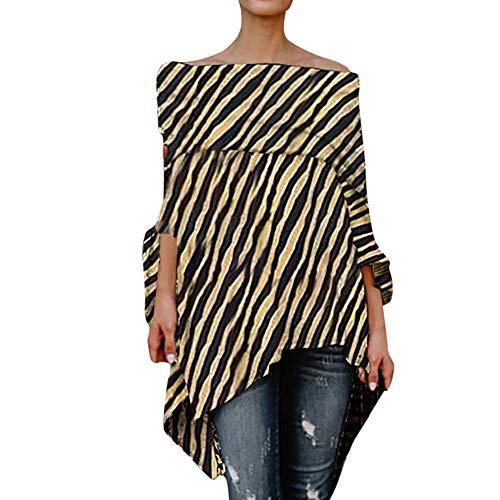 LILICAT❋ Camiseta de Mujer con Cuello en Pico y Leopardo Sexy, Mujeres con Hombros Descubiertos, Leopardo, Camisetas asimétricas con Manga Larga Blusa: ...