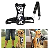 Dog Safety Vest Harness XL EZYKOO Oxford Adult Dog Harness Travel Safety Vest Harness for 55-88 Pounds Dog, Neck Girth 19-26 inch, Chest Girth 23-35 inch, with Car Seat Belt Lead Clip