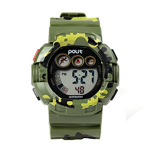 (POLIT Kids Water Resistant Camo Electronic Wrist Watch Digital Outdoor Sport Watch - Green)