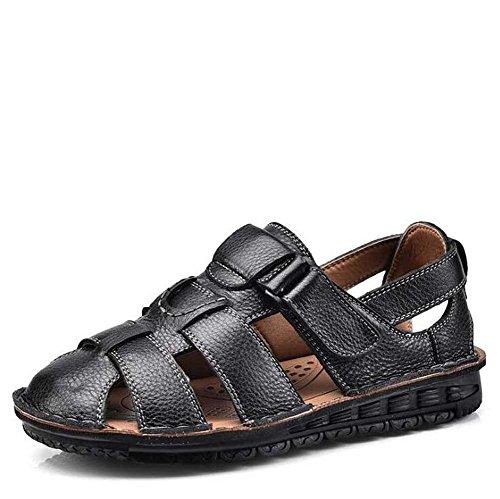 de Libre Padre GLSHI Sandalias Hombres Aire al Negro Negro Talla Edad Mediana Summer Antideslizante Beach de de New 38 Zapatillas los 44 Marrón Shoes qOq6pxB