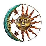 Sun And Moon Metal Wall Art for Indoor or Outdoor Use, Brown ()
