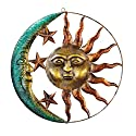 Sun And Moon Metal Wall Art for Indoor or Outdoor Use, Brown