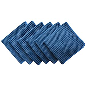 Sinland Microfiber Waffle Weave Dishcloths Cleaning Cloths 6 Pack 13inch X 13inch Navy Blue