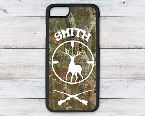 Personalized Name Camouflage Deer Riffle Hunter Phone Case Gift for Him iPhone 6 7 8 Plus ()