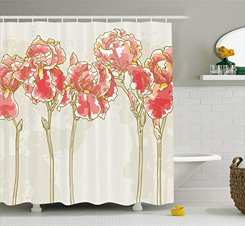 Ambesonne Floral Shower Curtain, Watercolor Painting Style Iris Flowers Blooming Romantic Hand Drawn Artwork, Fabric Bathroom Decor Set with Hooks, 70 inches, Beige Dark Coral