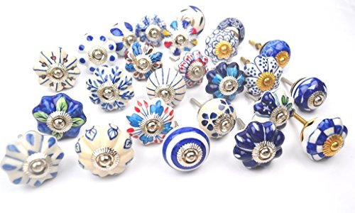 STREET CRAFT Blue And White Hand Painted Ceramic Pumpkin Knobs Cabinet Drawer (Hand Painted Jug)