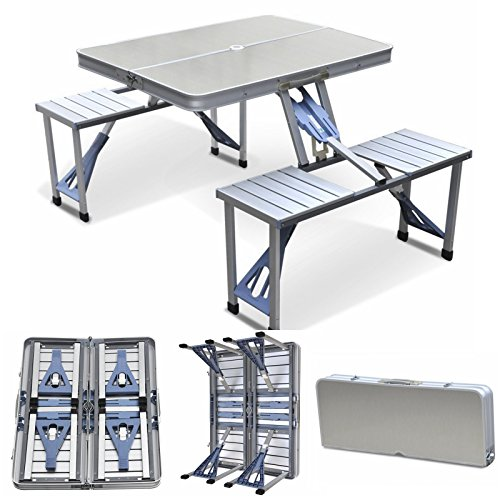 2' Box Seat - Magshion Furniture Portable Folding Camping Picnic Table with 4 Seats, Aluminum